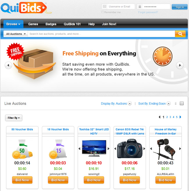 Quibids reviews qui bids penny auction scam for Top online selling websites