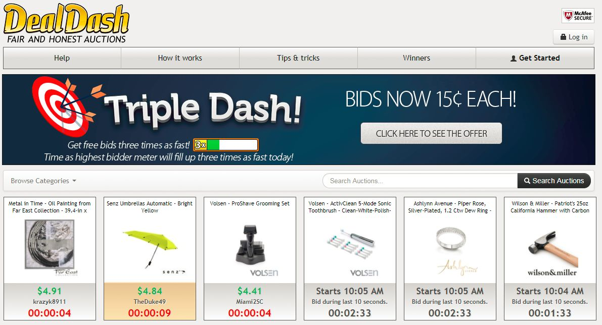 100 free bids on dealdash best penny auction sites