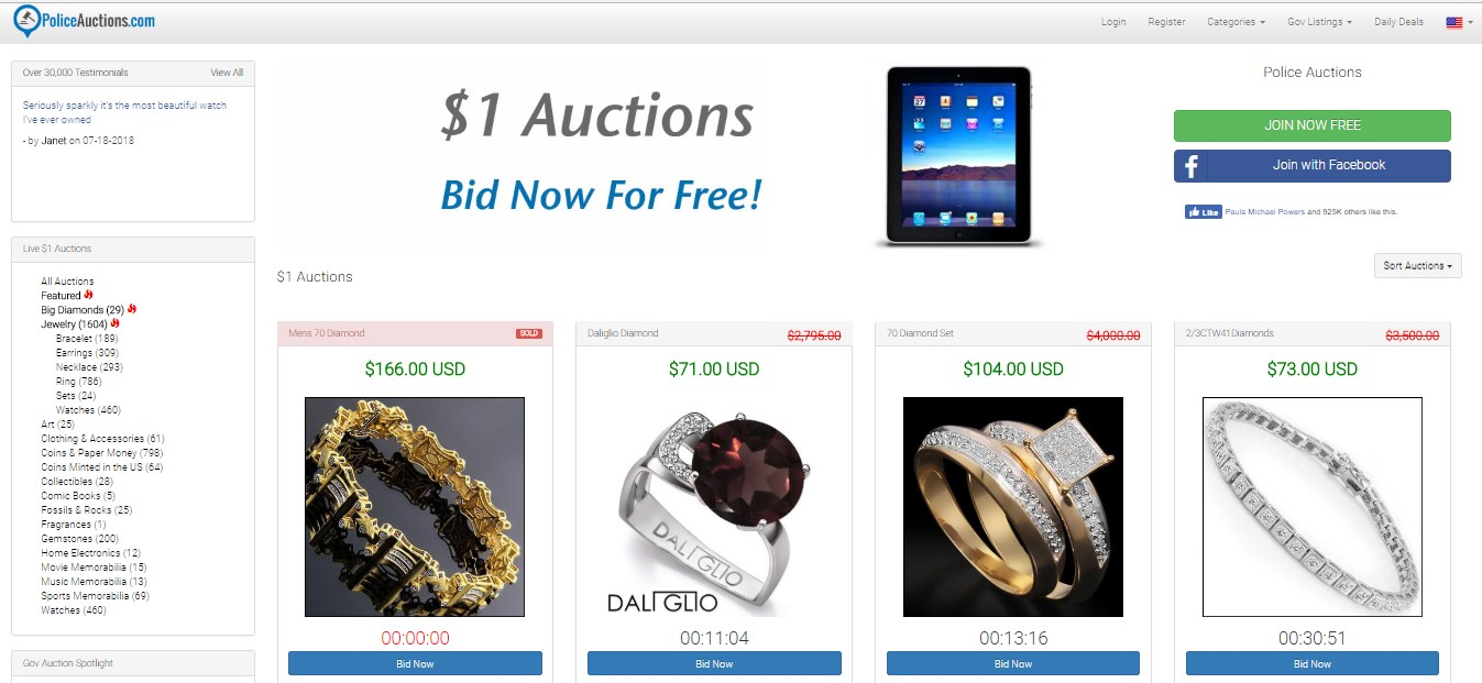 PoliceAuctions com Reviews - Best Penny Auction Sites